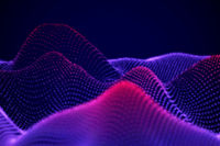 Abstract landscape of Neon digital particles or sound waves.
