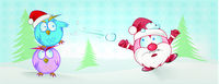 funny owl and santa claus cartoon on christmas background. christmas banner