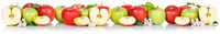 Apples fruits red and green apple banner fruit isolated on white in a row