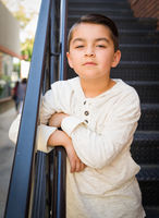 Portrait of Mixed Race Young Hispanic and Caucasian Boy