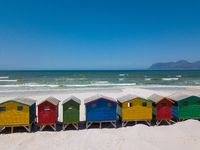 Colourful wooden beach huts at Muizenberg beach