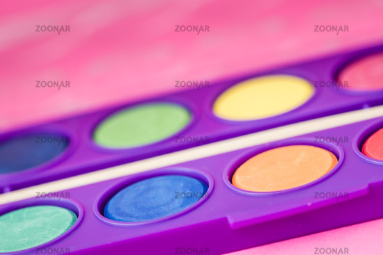 New Watercolor Paint Set with Brush in Purple Paint Box