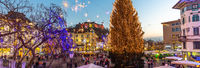 Romantic Ljubljana's city center decorated for Christmas holidays. Preseren's square, Ljubljana, Slovenia, Europe