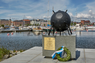 Deminer memorial at the shore of Katajanokka in Helsinki, Finland. There were 60,000 mines around Finland.