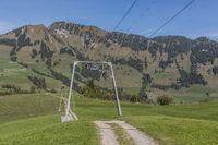 Führungsmasten eines Skilifts auf dem Wirzweli, Nidwalden, Schweiz, Europa
