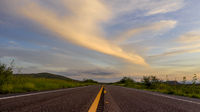 Low Perspective View Open Road Asphalt Texas Road Dramatic Sky
