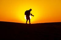 Shooting sunset in the desert