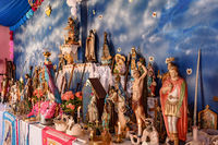 Religious altar with saints from diverse backgrounds represented