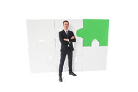 Business man and ready puzzle