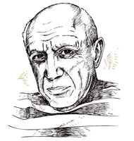 hand drawn portrait of picasso. illustration