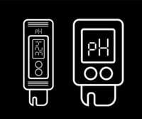 Acidity meter pH. The chemical testers. Icons of thin lines on a black background. Vector