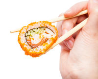 chopsticks holds california ebi roll close up