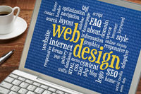 web design word cloud on laptop screen