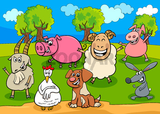 happy farm animals cartoon characters group