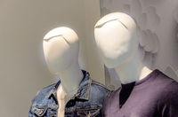 Closeup plastic mannequin heads.