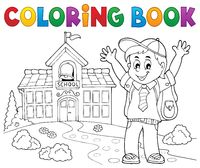 Coloring book happy pupil boy theme 2