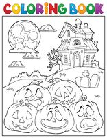 Coloring book Halloween pumpkins pile 2