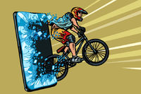 sports online news concept. athlete cyclist in a helmet on a mountain bike