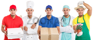 Occupations occupation education training profession doctor cook group of young people latin man job isolated on white