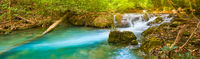 Beautiful waterfall Huai Mae Khamin, Thailand. Panorama