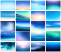 BIG set of 20 horizontal wide blurred nature dark blue backgrounds. With various quotes