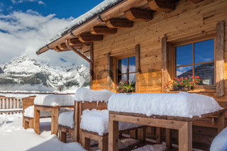 Mountain hut in winter, South Tyrol