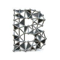 Wire low poly black metal Font Letter B 3D