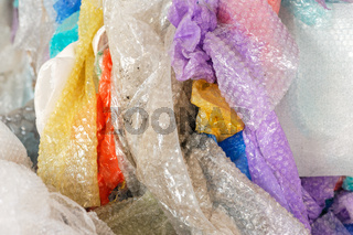 Used bubble wraps at the recycling factory. Closeup