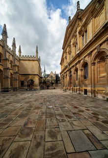 Old yard of the Oxford University between Divinity School and Sheldonian Theater. Oxford. England
