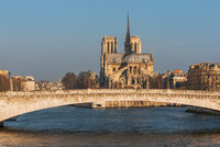 Notre-Dame cathedral at sunrise in Paris