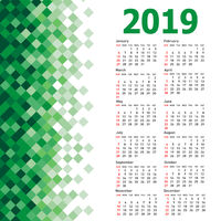 Stylish calendar with Abstract triangle mosaic background for 2019