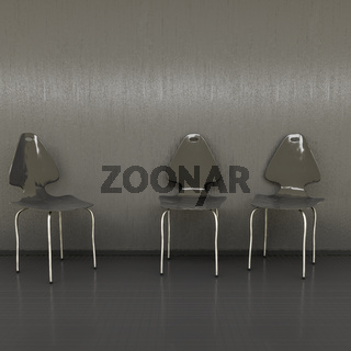 three black chairs at a wall with space for your content