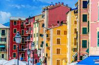 Architecture of Camogli on the Italian Riviera in the Metropolitan City of Genoa