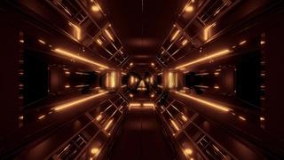 dark space sci-fi tunnel airship corridor fly through vj loop 3d illustration withgolden glow