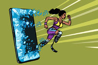 african woman runner disabled leg with prosthesis Phone gadget smartphone. Online Internet application service program