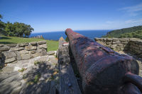 Military Iron Canon at Coast of the Basque Country in north of Spain