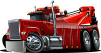 Cartoon big rig tow truck