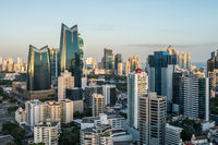 Aerial view of the city skyline of Panama City business district