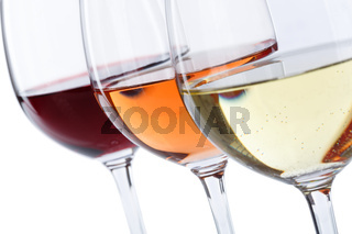 Wein Gläser Weingläser Weißwein Rotwein Rose freigestellt Freisteller