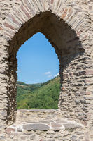 Stone wall and window opening of ruin castle Brandenbourg, Luxembourg