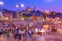 Eminonu quayside in Istanbul in the evening