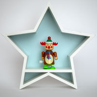 Christmas decoration white star with funny reindeer figure inside