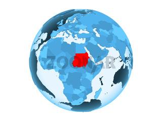 Sudan on blue globe isolated