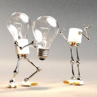 Digital 3D Illustration of a Light Bulb Guy