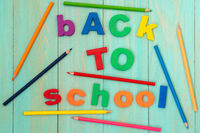 Sentence BACK TO SCHOOL with a colorful pencils