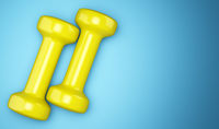 yellow dumbbells isolated on blue background. 3d illustration