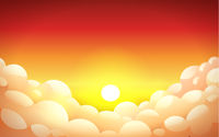Red sunset sky in yellow-orange color with fluffy clouds