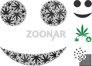 Smiley Collage of Hemp Leaves