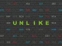 Social network concept: Unlike on wall background