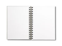 Blank open spiral notebook isolated on white